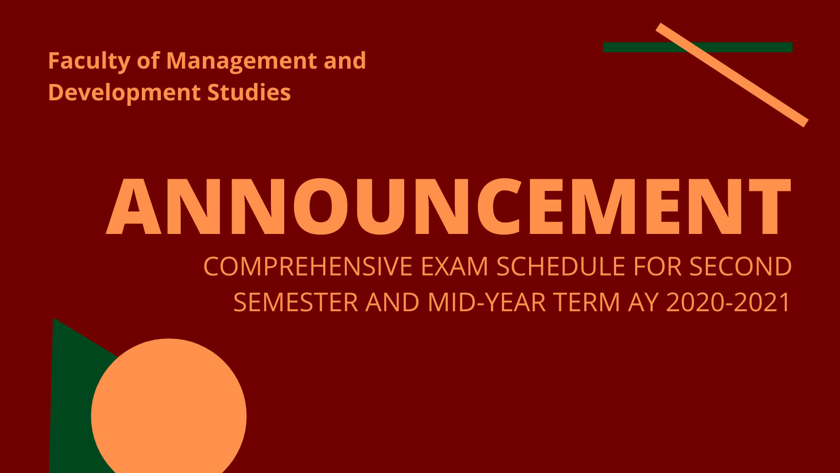 Comprehensive Exam Schedule - 2nd Sem MYT 2020-2021